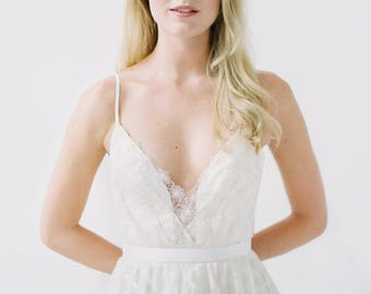 Samantha // A soft gold wedding gown with spaghetti straps