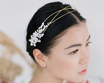 Barcelona Headpiece // Wire headpiece with hand painted ceramic flowers