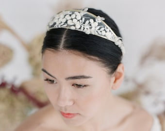 Valencia Headpiece // Metal crown with Spanish embroidered lace