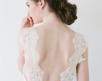 Jordan // A chiffon wedding dress with lace straps