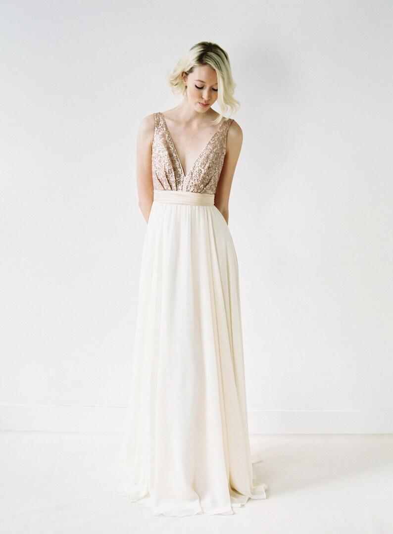 d1072b333c5 Eden    A rose gold sequined backless wedding dress