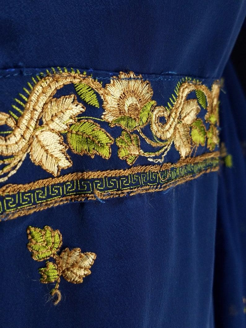 Midnite blue resham embroidered art crepe salwar kameez bust 40
