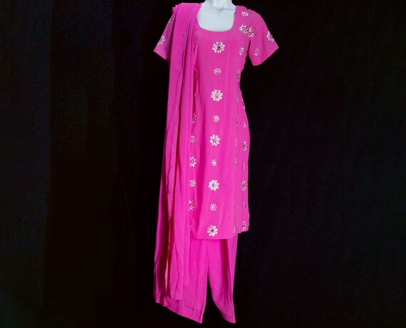Unstitched Soft Leon French Crepe Indian Pakistan Salwar Kameez Synthetic