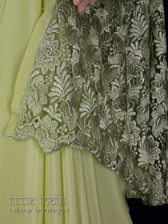Pistachio green crepe saree with embroidered net b