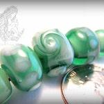 Handmade Flamework Glass Bead Set of 5, Lampwork Glass, Sea Green and Almond