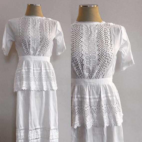 1910s Eyelet Lawn Dress