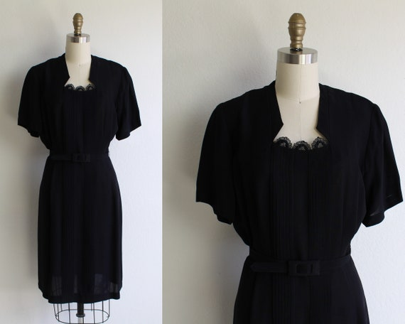 Vintage 1940s Dress Womens Large Black Belted