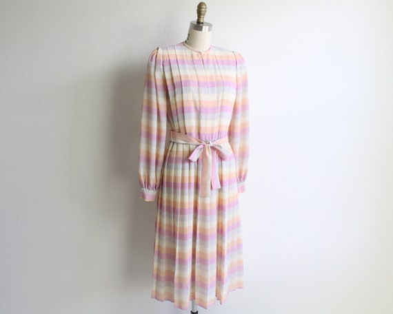 Vintage Dress 1980s Pastel Stripes Pleated Womens
