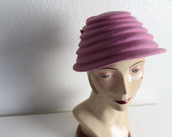 Vintage 1940s Womens Hat Purple Rhinestone