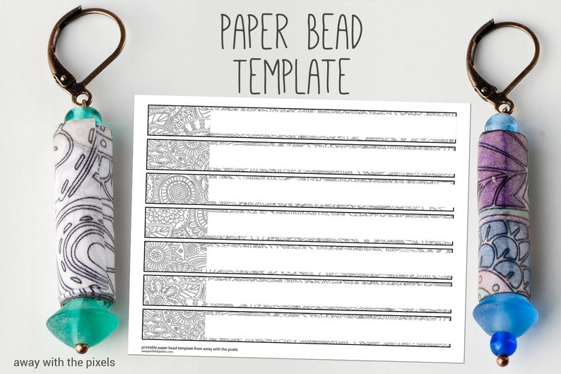 Black White Digital Paper Bead Template To Color Diy Paper Etsy
