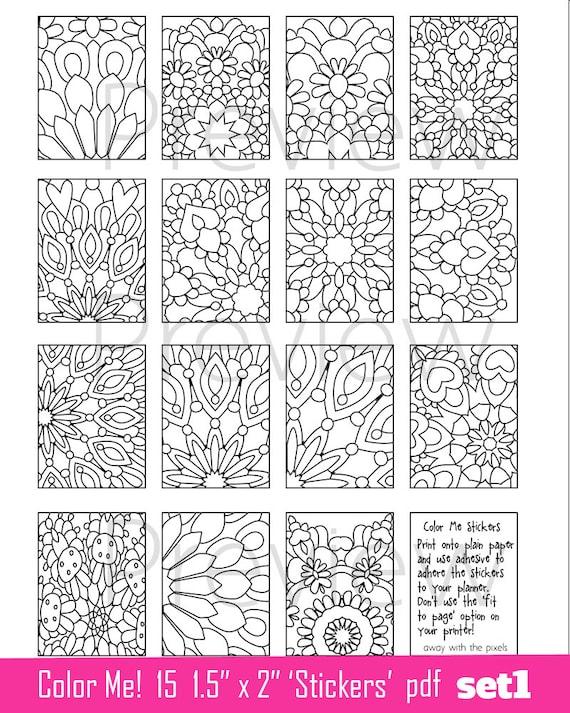 Pegatinas de página para colorear para imprimir 15 x | Etsy