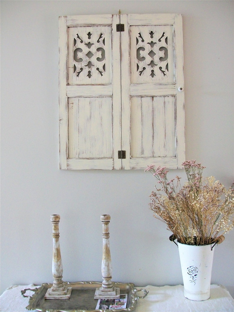 1 Pair Wood Shutters Wall Decor Antique Inspired Handmade White Distressed Rustic Farmhouse French Country