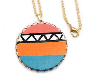 Color Block Tribal Print Necklace Hand Painted Circle Pendant