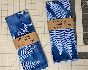 Solar resist-dyed fern hankies