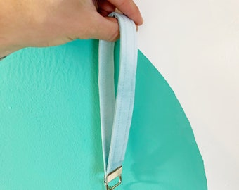 Hand-dyed light blue quilted keychain   made with dyed fabric remnants