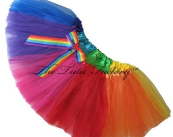 835707760a RAINBOW Tutu . Little Girls to Adults Plus SIze . Gay Pride Tutu with Bow .  Running Skirt . Short Length 11in by The Tutu Factory USA