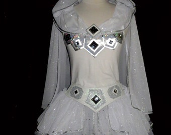 Belt Girls to Adult Plus Size Storm Trooper Short 11in Length Space Trooper Running Costume White Sparkly Skirt  .Tutu