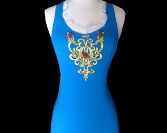 Mermaid Running Shirt . Teal RACERBACK Tank Top . Big Girls to Adult Plus Size . Running Shirt by The Tutu Factory USA ™