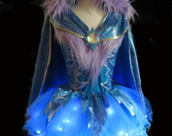 Blue Dragon Costume . Little Girls to Adult Plus Size . Running Skirt  .  Belt . SHORT Length 11in . by The Tutu Factory