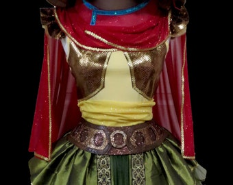 Warrior Princess Costume . Little Girls to Adult Plus Size . Running Skirt . Cape . Belt . SHORT Length 11in . by The Tutu Factory