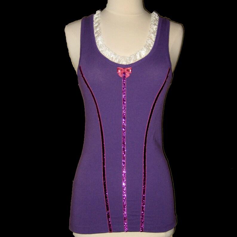 Big Girls to Adult Plus Sizes TIGHTROPE BALLERINA Tank Top Running Shirt by Tutu Factory Purple Top
