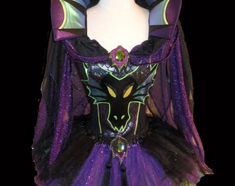 MISTRESS of EVIL Dragon Costume . Girls to Adults Plus Size  . Running Costume . Short Length 11in by The Tutu Factory USA ™