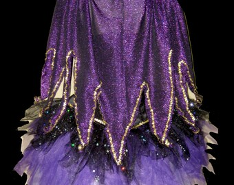 SEA WITCH Cape . Girls to Adult Plus Sizes . Black Sparkly Tutu . Purple Sparkly . Long Length up to 16in by The Tutu Factory USA ™