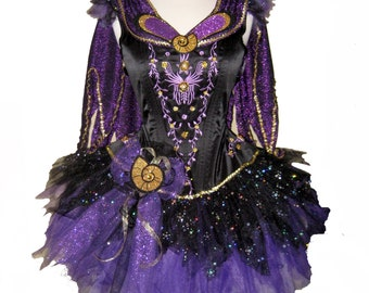 SEA WITCH Tutu . Cape . Girls to Adult Plus Sizes . Purple Sparkly . Long Length up to 16in by The Tutu Factory USA ™