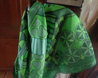 manually painted silk scarf 90 x 90 cm green dominant for lovers of this color on