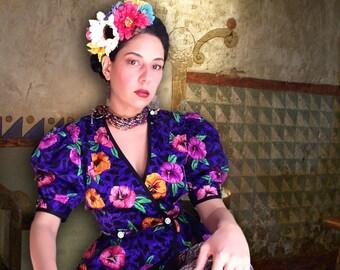 Vintage Frida Kahlo style peplum floral top.