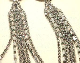 Stunning Unique Long Dangling Rhinestone Clip Earrings