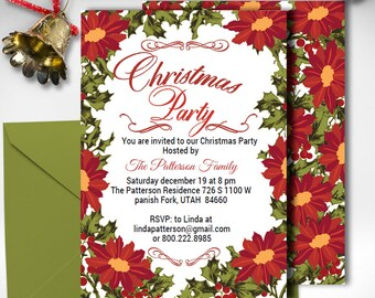 merry and bright invitation christmas party invite red etsy