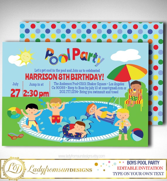 Boys Pool Party Invitation Summer Boy Birthday Printable Editable