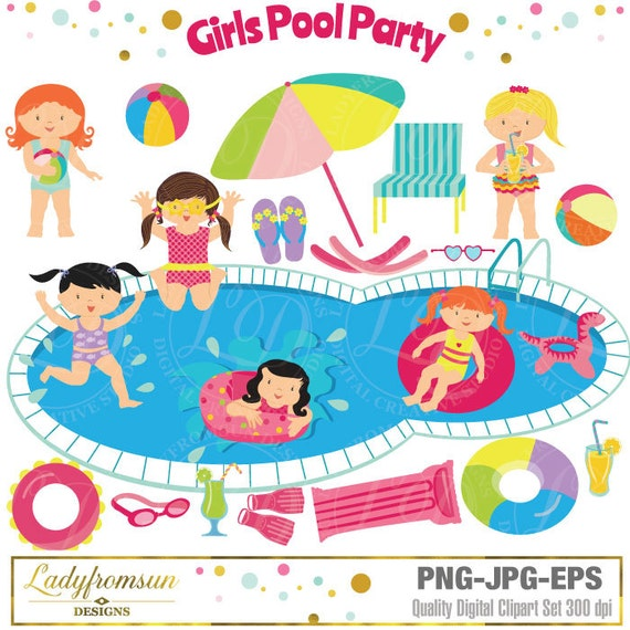 Girls Pool Party Clipart Clip Art Summer