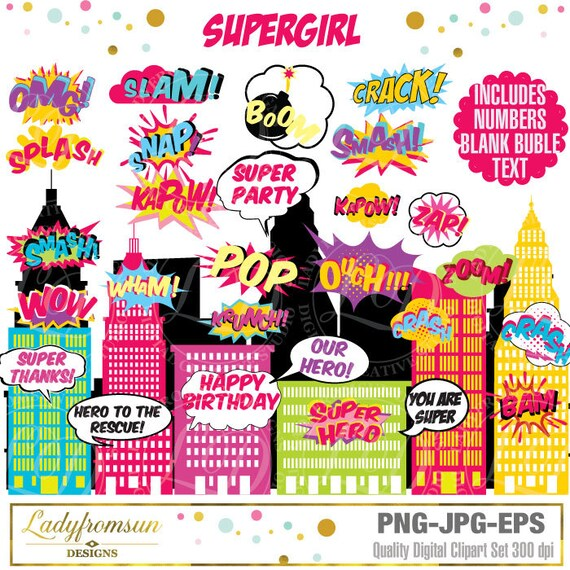 Superhero Girl , Clip Art , Action Words,Comic Sound Effects