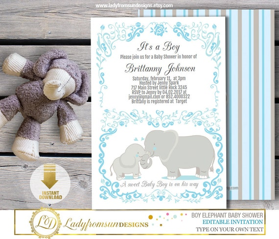 boy elephant baby shower elephant invites blue and gray its a
