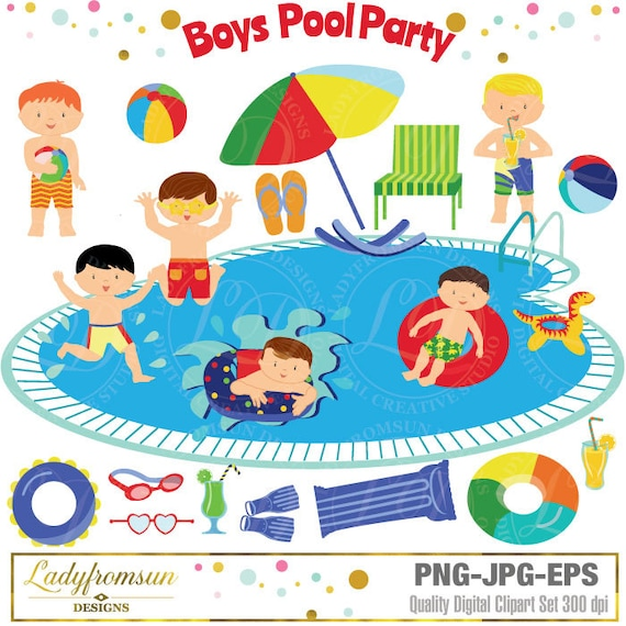 Boys Pool Party Clipart Clip Art Summer