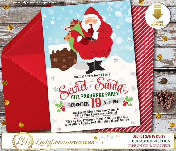 Items similar to Secret Santa Invitation, Christmas Invitation, Santa, Holiday Party Invite, Gift Exchange, Digital Printable| DIY Instant Download on Etsy