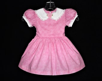 Little Girl 1950 Vintage Style Dress in Pink and White