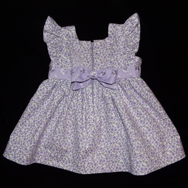 Lilac Eyelet /& Purple Rosette fabrics Apron Baby Dress Bonnet and Lace Back Ruffled Bloomer Set
