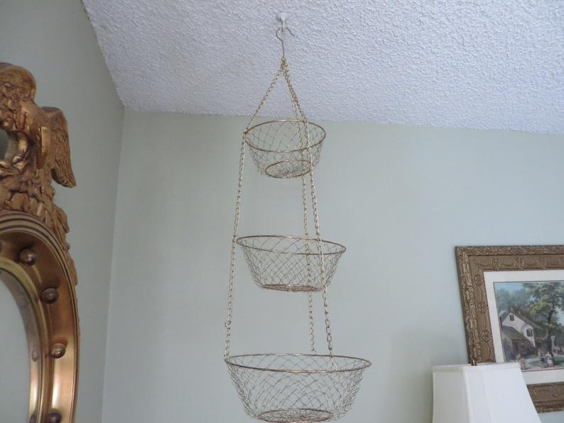 TieredEtsy Fruit Hanging Basket Metal Three Gold Vintage SGLzpUVqM