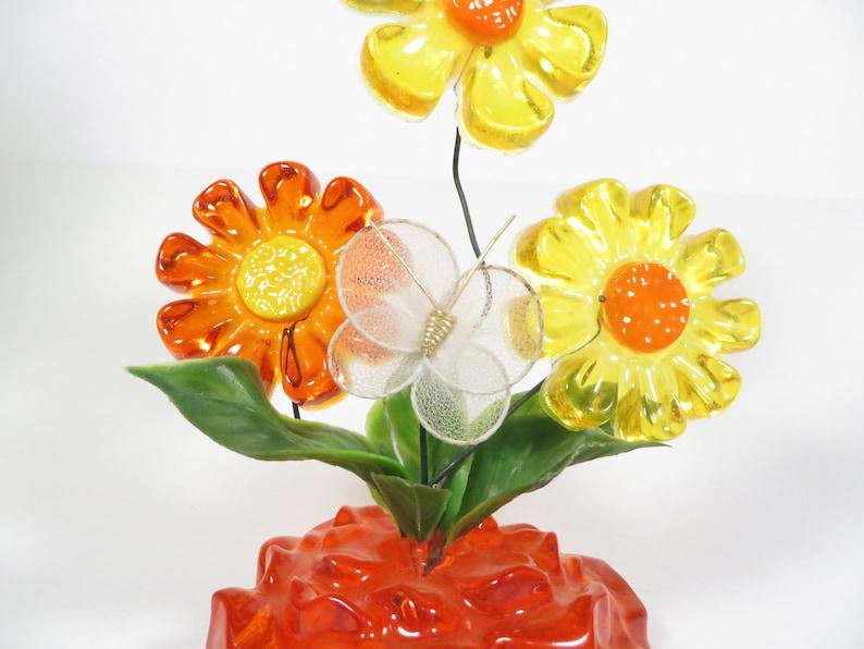 Vintage Lucite Daisies Flower Arrangement Lucite Orange Etsy