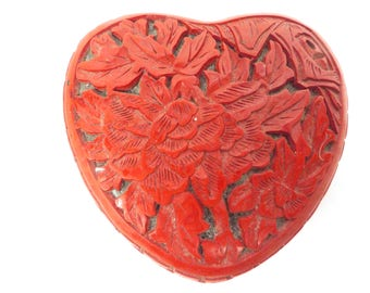 Vintage Chinese Cinnabar Lacquer Trinket Box - Heart Shaped Red Cinnabar Carved Trinket Box