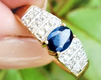 Natural Blue Sapphire Diamond 14K Stacking September Birthstone Ring! Vintage Estate!