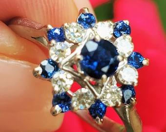 Vintage Blue Sapphire Diamond Cluster Ring 14K! September Birthstone Vintage Estate!