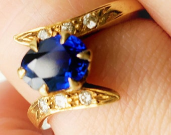 Payment 2 of 4 for A CERTIFIED Victorian Natural Blue Sapphire Old Cut Diamond 14K Bypass Engagement Birthstone Ring!