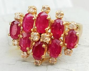 1980s Big Natural Ruby Diamond Cluster Statement Ring 14K! Vintage Estate!