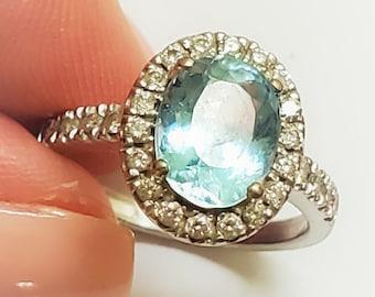 Oval 18K 1.7CT Aquamarine Diamonds Engagement March Birthstone Ring!