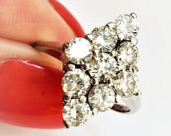 Vintage Old European Cut Diamond Cluster Navette Ring 14K! Engagement Statement April Birthstone!