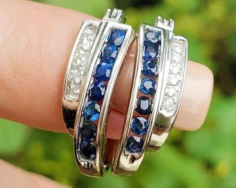 14K Blue Sapphire Diamond Double Hoop White Gold Earrings! Vintage Estate!